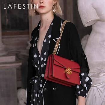 LAFESTIN 2019 new fashion women bag over shoulder high quality temperament shoulder messenger bag chain leather bags