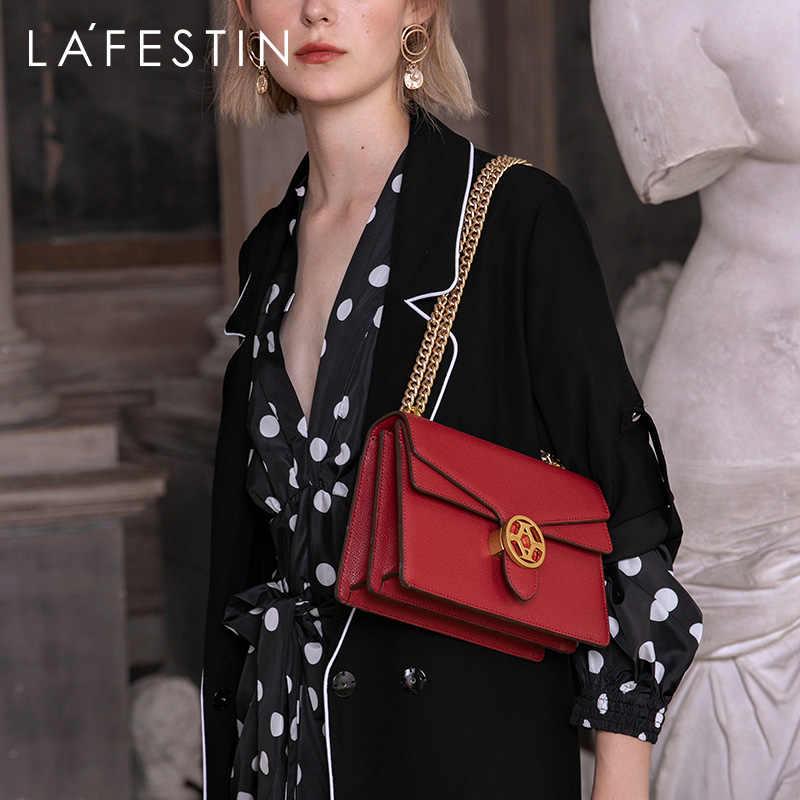 Lafestin 2019 nova moda feminina bolsa sobre o ombro de alta qualidade temperamento ombro saco do mensageiro sacos couro corrente