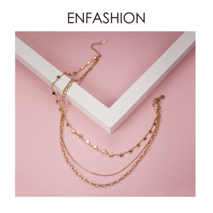 Image 3 - ENFASHION بوهو متعدد الطبقات ستار سلسلة المختنق قلادة المرأة الذهب اللون الفولاذ المقاوم للصدأ القلائد مجوهرات الأزياء keting P193035