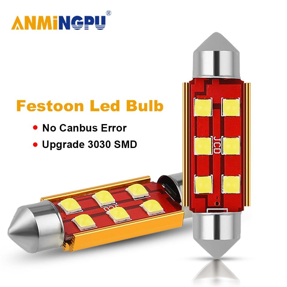 ANMINGPU сигнальная лампа C5W CANBUS C10W Led лампы типа фестон 31 мм 36 мм 39 мм 41 мм 3030SMD внутренние лампы для чтения купольсветильник 12 В