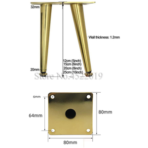 Image 5 - 4Pcs/Set Furniture Adjustable Table Legs Metal Tapered Sofa Cupboard Cabinet Furniture Leg Feet 12/15/20/25 Stool Chair Leg Feet