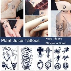 Plant Juice Temporary Tattoo Sticker Waterproof Durable Herbal Gardenia Blue Tattoos Fashion Women Girls Arm Leg Chest Body Art