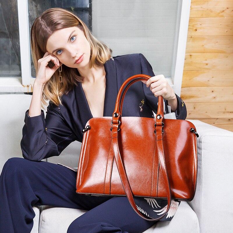 Image 2 - DIENQI Saffiano bags ladies genuine leather shoulder bag female  luxury women Real leather handbags big Boston messenger bags  redShoulder Bags