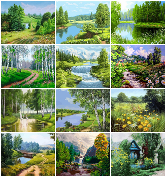 EverShine Painting By Numbers Tree Hand Painted DIY Kits Drawing Canvas Landscape Wall Art Home Decor