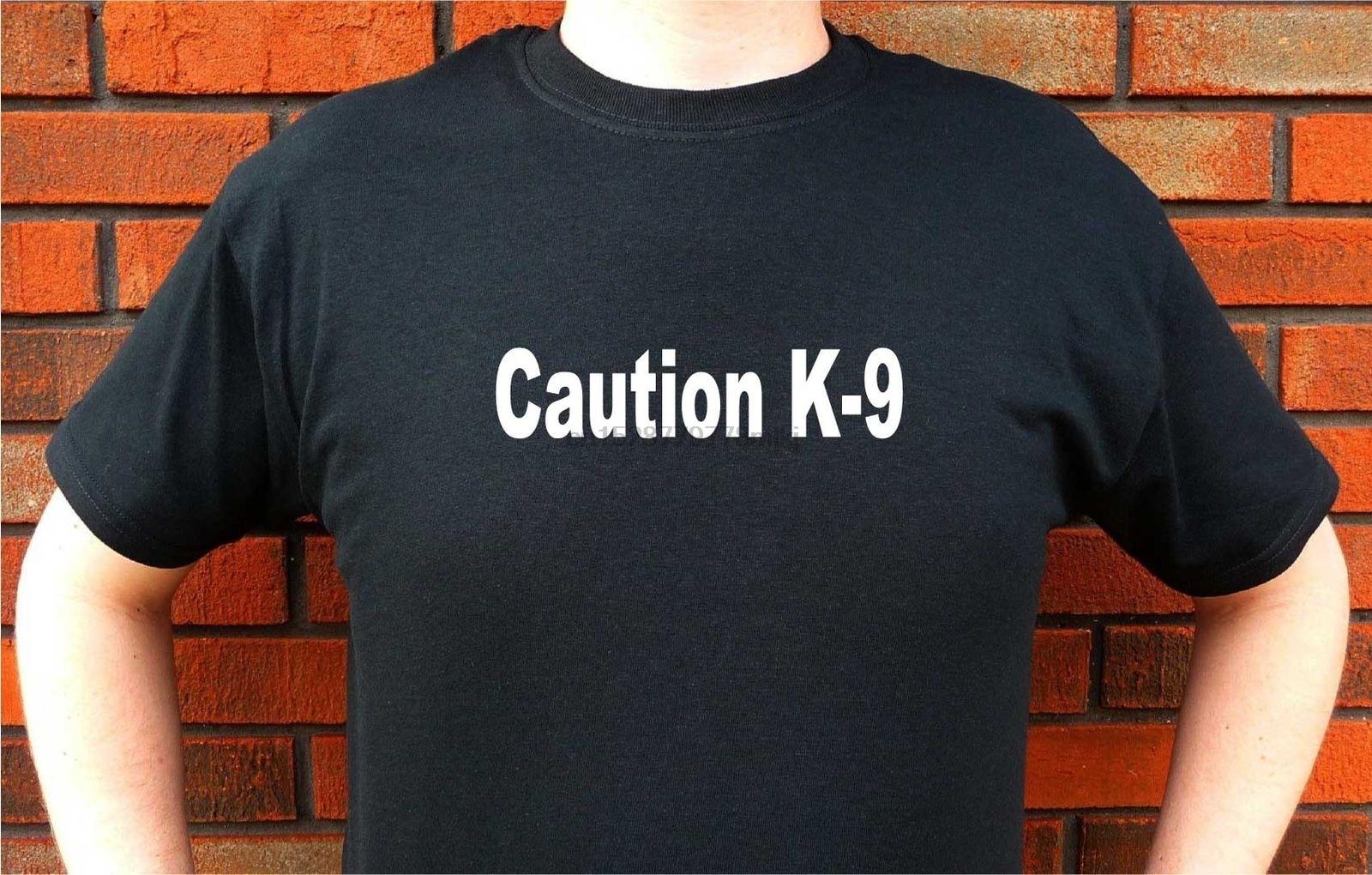 100% Cotton O-Neck Short Sleeve Tee Shirt Homme Tshirt Men Funny Caution K9 Dog Police German Shepherd Belgian Malinois T Shirts