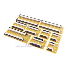 Cabo flexível liso para pcb, extensão de jumper ffc fpc 1.0mm 4 5 6 8 9 10 15, 1 peça conector zíf fpc, 16 20 24 30 32 34 40 pinos