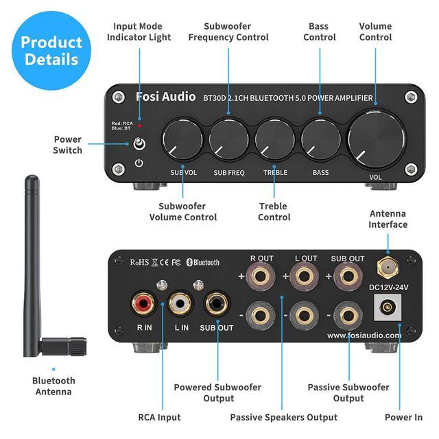 Channel Bass & Treble Control Amp Audio Subwoofer 100W + 50W x2 2