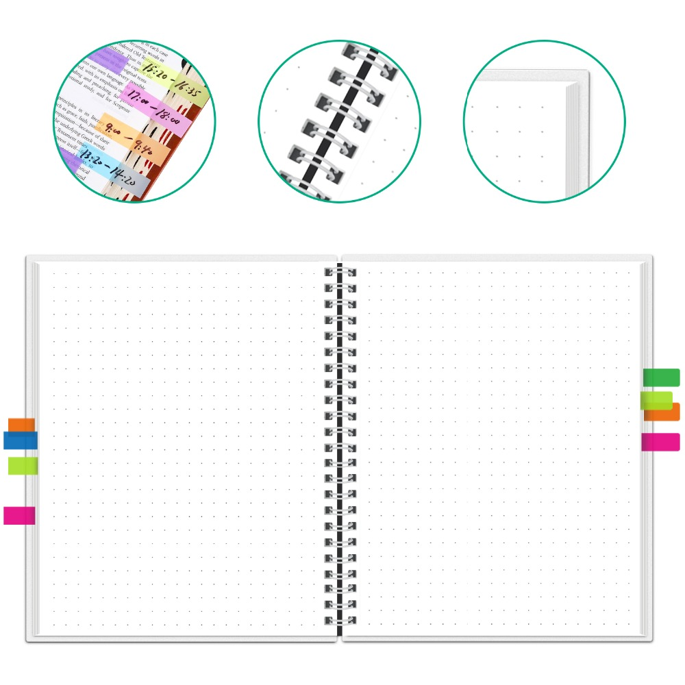 NEWYES dot grid Smart Reusable Erasable Spiral A4 Notebook Paper Notepad Diary Journal Office School Travelers Drawing Gift 10