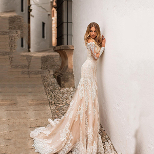 Image 3 - Champagne Wedding Dress Lace Appliques Full Length Sleeves Wedding Bride Dresses Buttons Back Wedding Gowns Detachable trailing