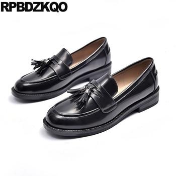 tassel footwear designer shoes women luxury 2019 ladies round toe slip on brown china black flats fringe casual loafers chinese
