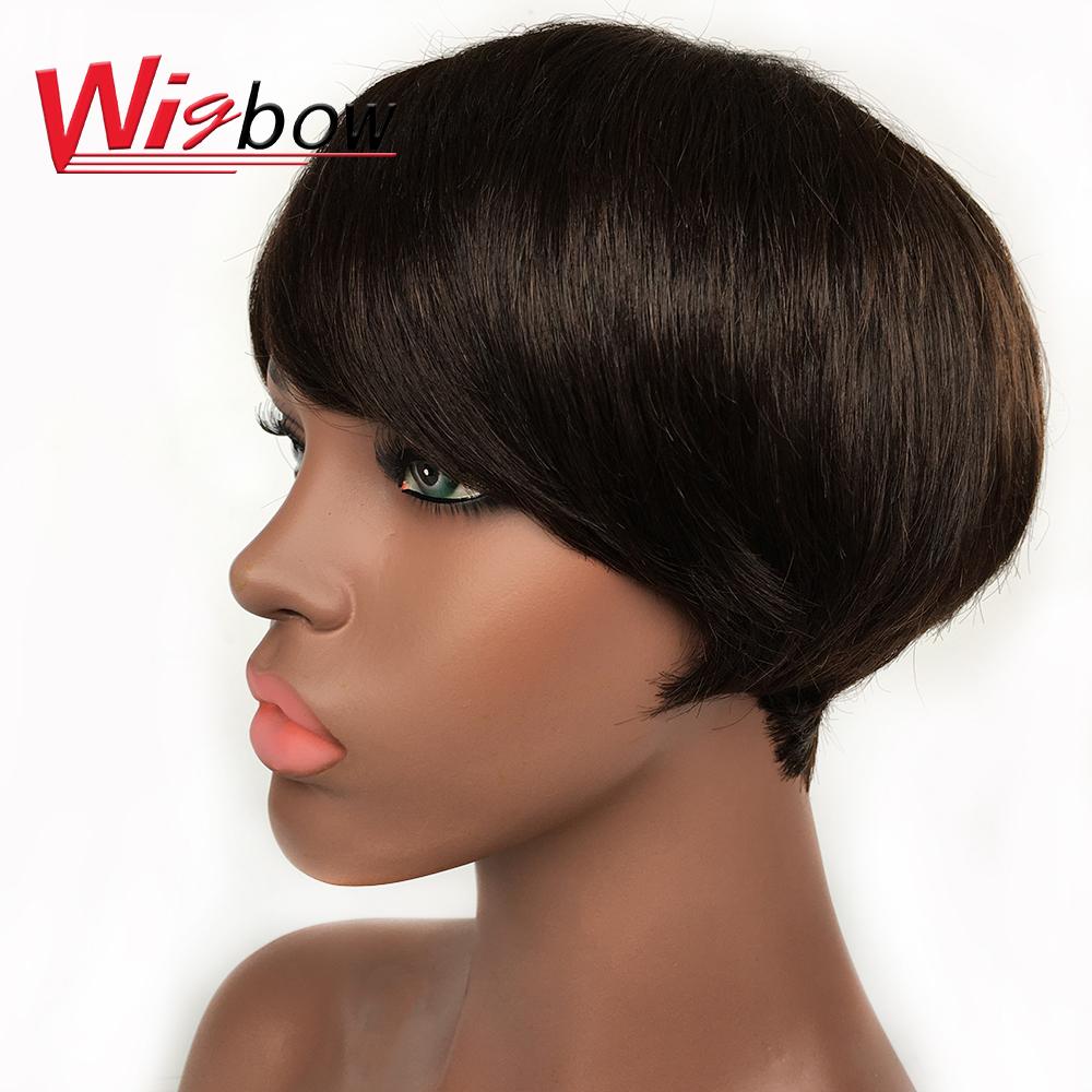 Short Straight Human Hair Bob Wigs With Bangs Natural Color F1B/99j F1b/30 F4/30 Brazilian Full Machine Made Wig For Women