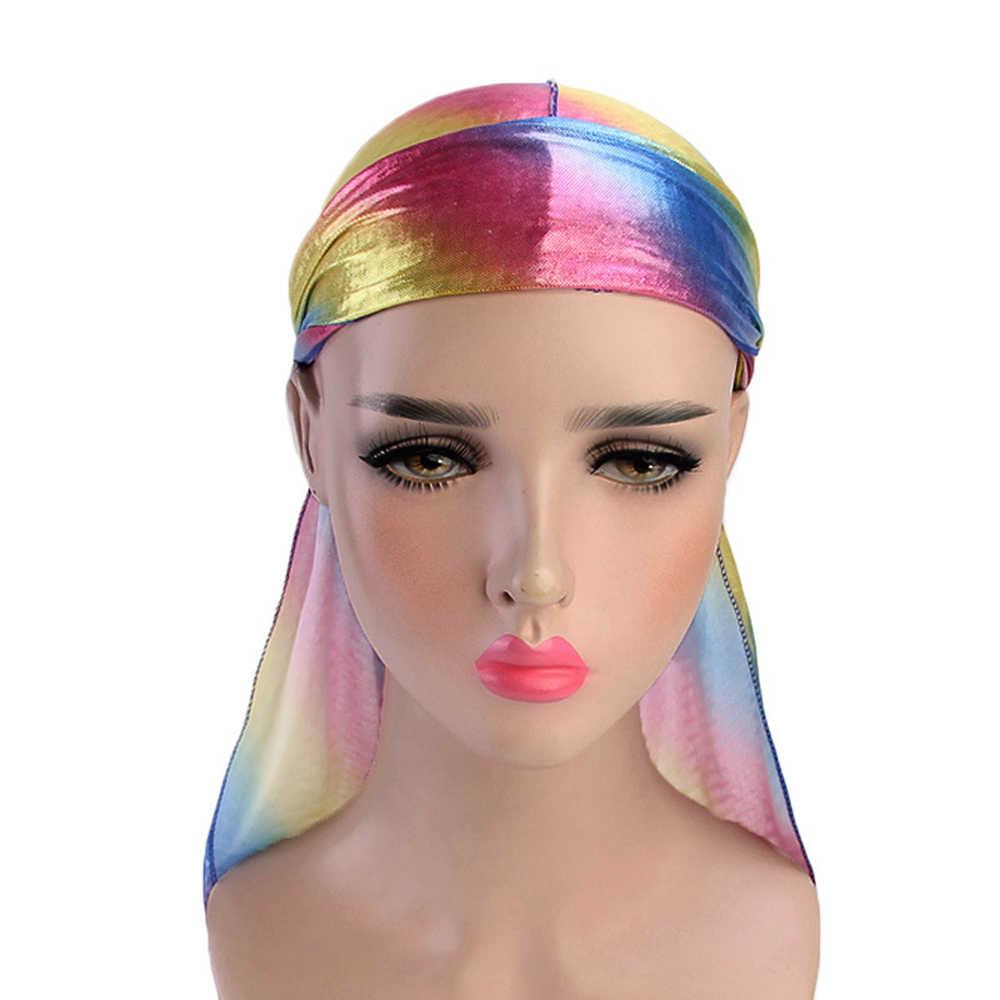 Saç aksesuarları ipeksi Durag bandanalar çok renkli şapka kadınlar erkekler için uzun kuyruk korsan şapkası dalgalar türban şapkalar kafa bandı peruk D30