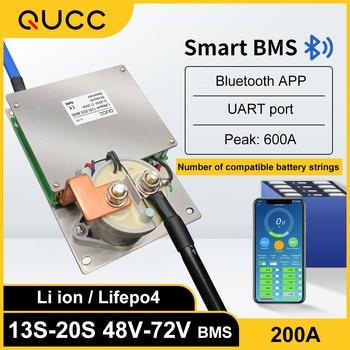 QUCC Inteligente BMS 13 14 15 16 17 18S 19S 20S 200A de Li ion Lipo de Lifepo4 BMS 48V 60V 72V teléfono Bluetooth APP de equilibrador 1