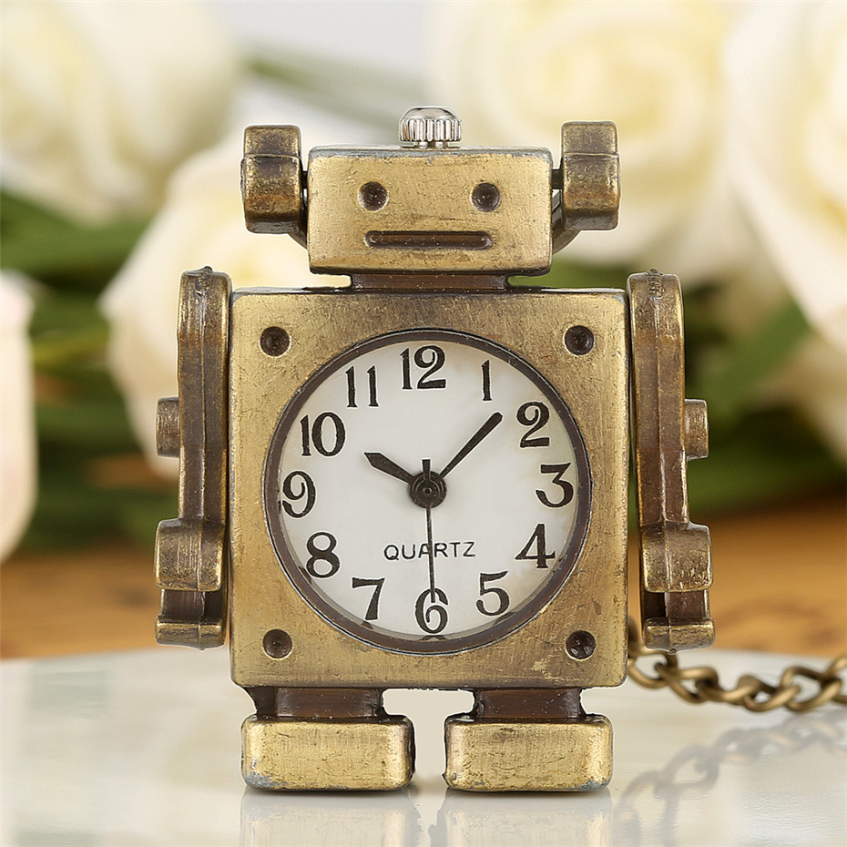 Little Size Creative Robot Shape Design Quartz Pocket Watch Arabic Numerals Display Necklace Pendant Clock Gifts For Boys Girls
