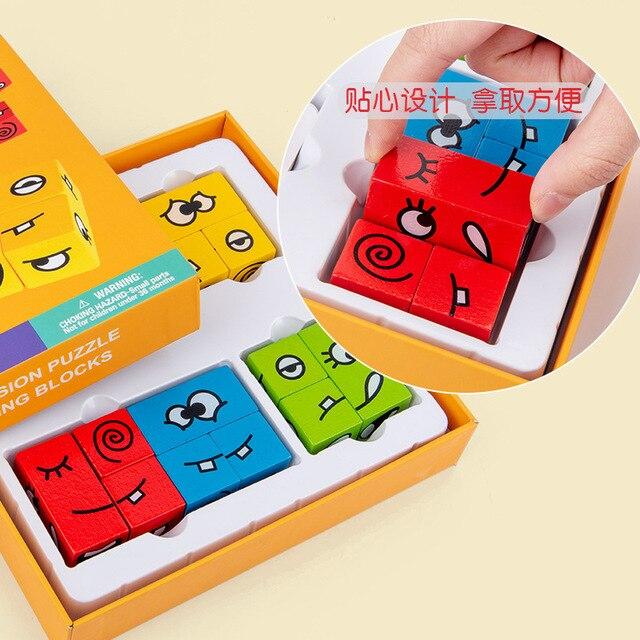Novel Magic Face Change Puzzle Blocks Children Educational Toys Kids Wooden Building Block Toy 4
