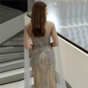 Image 2 - Szary z rękawy cap Mermaid suknie wieczorowe dubaj O Neck pełna diament luksusowe suknie wieczorowe 2020 Serene Hill LA70401