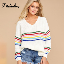 Fitshinling Winter Fashion Womens Sweaters 2019 Rainbow Striped Slim Pullovers Korean Style Knitted Jumper V Neck Pull Femme