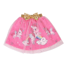 3-8Y Baby Girls Skirt Kids Princess Unicorn Lace print Ball Gown mesh tutu skirt for girls Children D015
