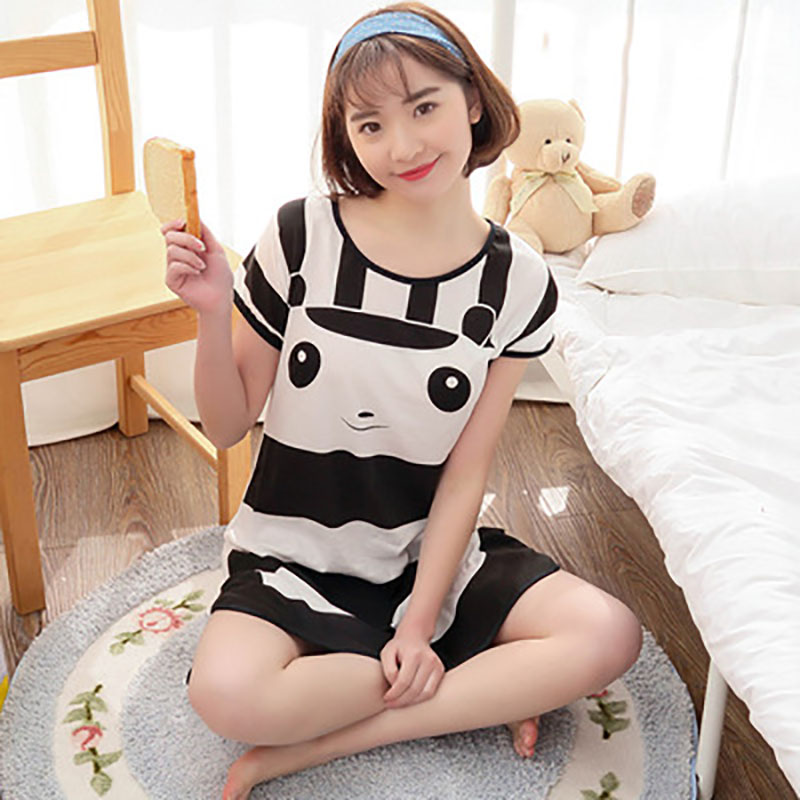 Sanderala Women Print Cartoon Sexy Sleepwear Round Neck Lingerie Cute Nightdress Strap Thin Female Underwear Nighty Home Wear 23