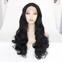 MRWIG Synthetic Glueless Front Lace Wig Middle Part  Brown/Black/Blonde Hair  Wig Combs&Adjustable Straps