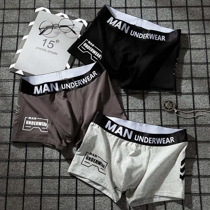 Трусы-боксеры мужские с буквенным принтом, нижнее белье из хлопка, однотонные шорты, боксеры