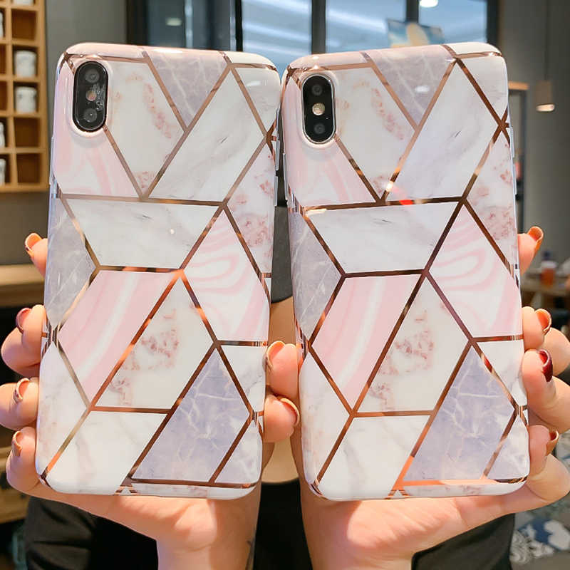 Geometric Marble Texture Phone Cases For iPhone XR XS Max 6 6S 7 8 Plus X Soft IMD Shockproof Electroplated Back Cover Coque