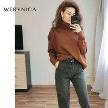 Werynica New Autumn Winter Women Loose Knitted Sweater Oversized Turtleneck