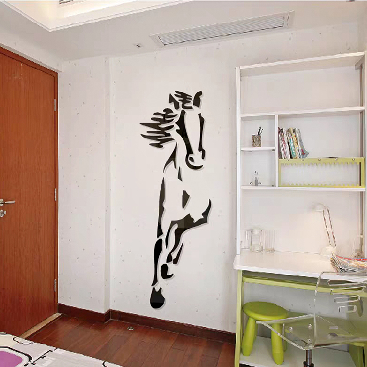 New-arrival-Horses-Living-room-Acrylic-3d-Wall-Sticker-Restaurant-Background-DIY-art-wall-decor-Creative
