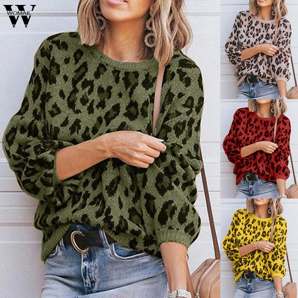 Womail Sweater Women 2019 Female O-Neck Pocket Casual Print Knitted Sweater Autumn Winter Long Sleeve Femme Pullover Jumper 88
