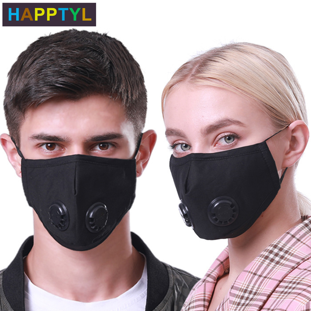 HAPPTYL Reusable Dust Mask Adjustable Earloop With Activated Carbon Filter And Dual Valves For Women Men Outdoor Activities