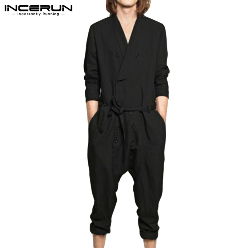 INCERUN Men Jumpsuit Solid Long Sleeve Cotton Button Pants V Neck Fashion Casual Overalls With Belt Men Rompers Streetwear S-5XL