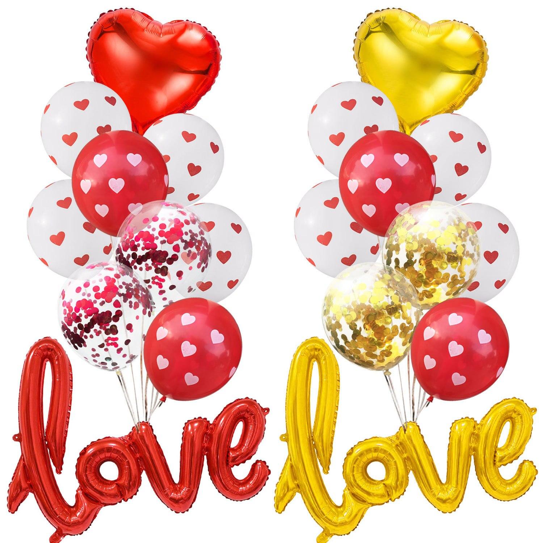 1 комплект красный «любящее сердце» Transparen конфетти шарики для свадебного украшения воздушные гелиевые шары День рождения, День Святого Вал...
