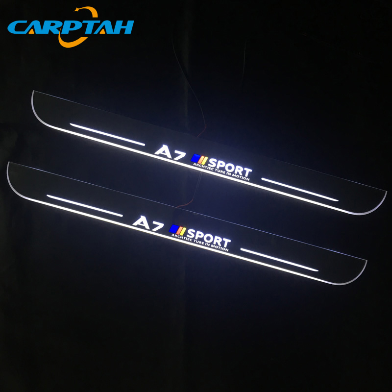2pcs Moving LED Light Door Sill Scuff Plate Trim Panel For AUDI A3//S3 2014-2015