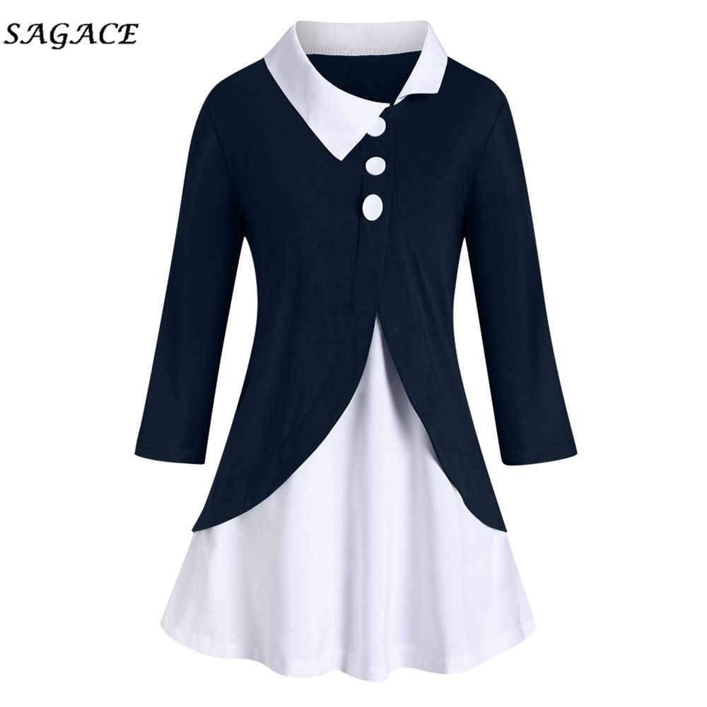 Sagace 服女性春の秋のファッションカジュアル固体暖かいボタンスプリットルーズプラスサイズプルオーバーブラウストップス