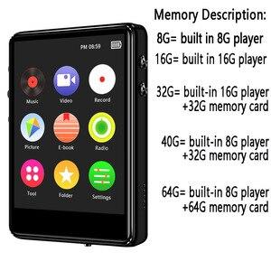 Image 5 - Оригинальный металлический MP3 плеер Bluetooth 5,0, сенсорный экран 2,4 дюйма, встроенный динамик 16 ГБ, электронная книга, Радио, запись, воспроизведение видео