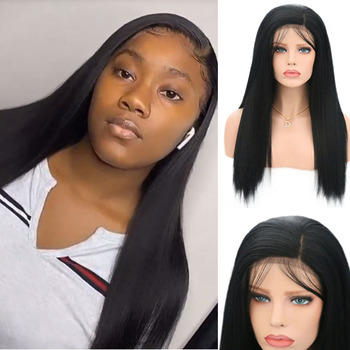 RONGDUOYI Black Wigs Short Silky Straight Hair Synthetic Lace Front WIg for Women Heat Resistant Daily Wear with Baby Hair