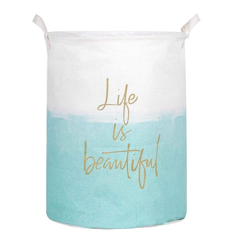 Ev ve Bahçe'ten Çamaşır Sepetleri'de ABSS 19.7 inç su geçirmez katlanabilir çamaşır sepeti  kirli giysiler çamaşır sepeti  çöp kutusu depolama organizatör oyuncak koleksiyonu yaşam title=