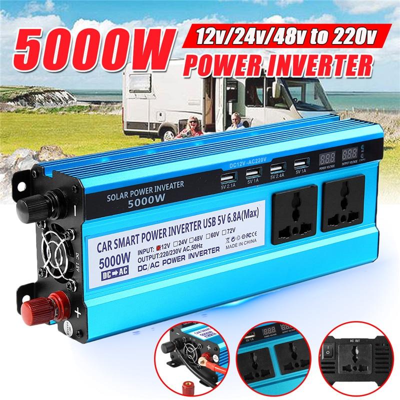 Onduleur solaire 12/24/48V 220V 5000W onduleur convertisseur de tension transformateur 4 USB solaire onduleur chargeur pour voiture maison