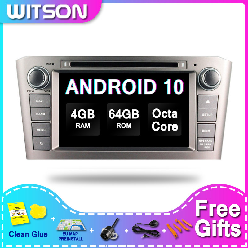 DE Estoque! Witson android 10.0 carro auto rádio 2 din para toyota avensis 2005-2007 px5 octa-núcleo 4 + 64gb