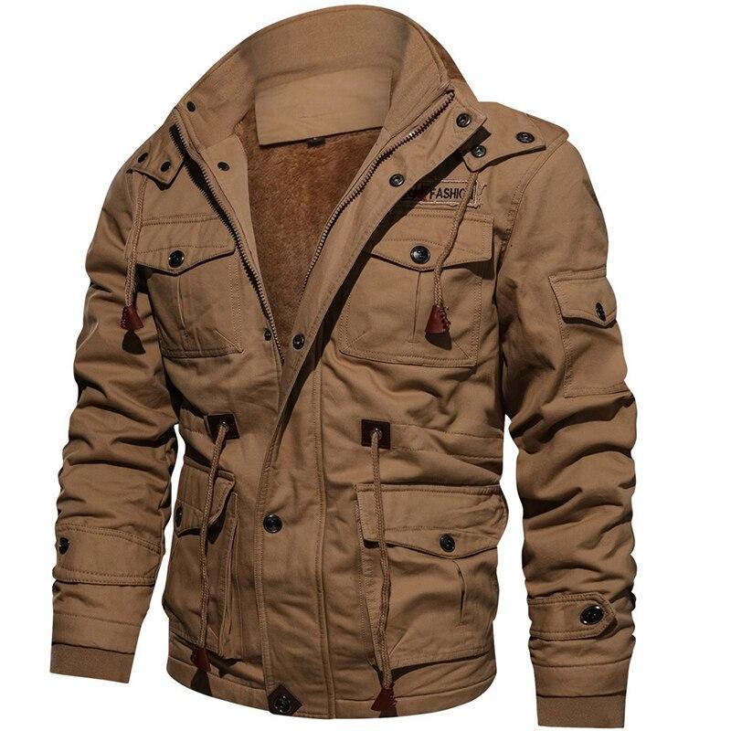 PUIMENTIUA Mens מעיל מעילי 2019 חדש ארוך שרוול צווארון עומד כותנה מעילי מעילים בתוספת גודל 4XL Mens לעבות סלעית מטענים מעיל