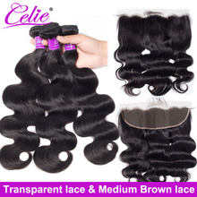 Mèches de cheveux naturels naturelles-Celie, en lot de 3, avec Lace Frontal Closure Transparent HD, Body Wave