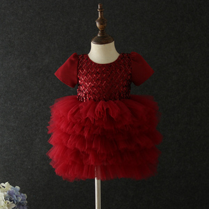 Image 2 - Yeni stil bebek yıldönümü doğum günü partisi ziyafet işlemeli elbise çiçek kız prenses ilk dans performans elbise