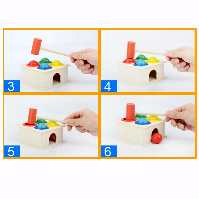 1Set Wooden Hammering Ball Hammer Box Children Fun Playing Hamster Game Toy Early Learning Educational Toys 6