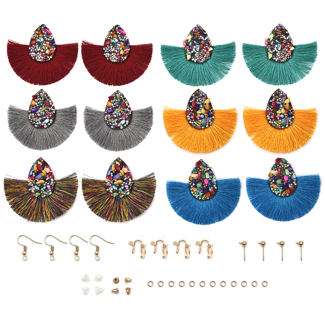 12pcs/Pack Bohemian Big Tassel Dangle Drop Earrings With Hooks For Jewelry Making Women Fringe Earrings Findings DIY Earring
