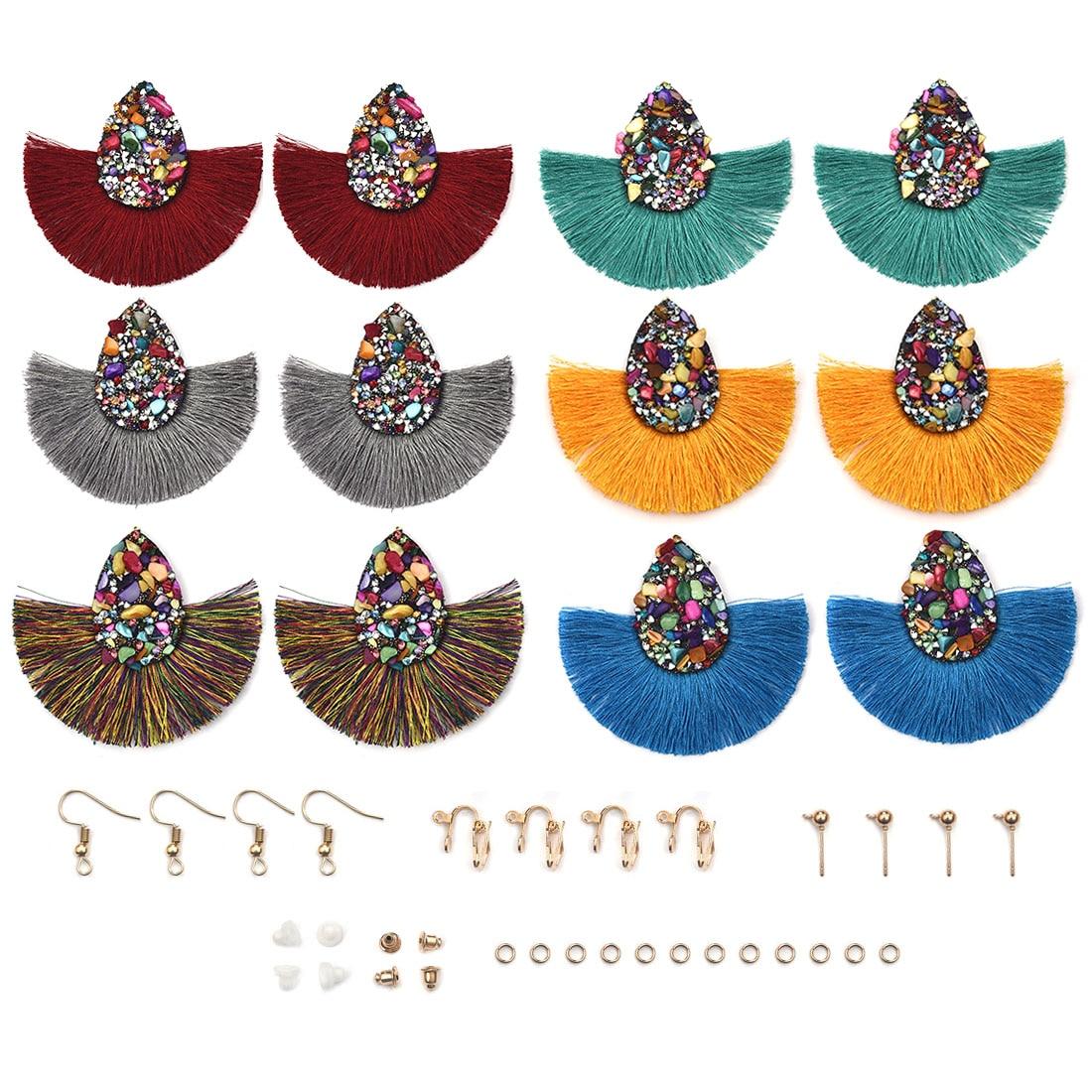 12pcs/Pack Bohemian Big Tassel Dangle Drop Earrings With Hooks For Jewelry Making Women Fringe Earrings Findings DIY Earring
