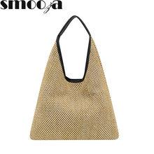 SMOOZA-Bolso De mimbre De Playa para Mujer, bolsa De Paja elegante, Bolso De Marca Famosa, bolsa De Playa De diseñador De lujo