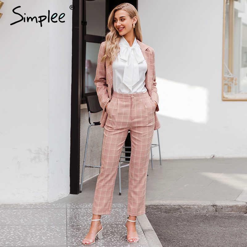 Simplee Mode Plaid Vrouwen Blazer Suits Lange Mouwen Double Breasted Blazer Broek Set Roze Office Dames Twee Stuk Blazer sets