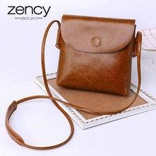 Zency 100% натуральная кожа женская сумка мессенджер Повседневная Лоскутная Классическая коричневая Женская сумка через плечо черная супер качественная черная