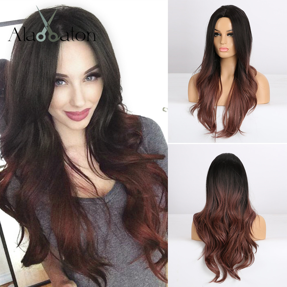 ALAN EATON Long Wavy Ombre Black Wine Red Wigs Synthetic Wigs For Women Natural Middle Part Heat Resistant Hair Female Cosplay