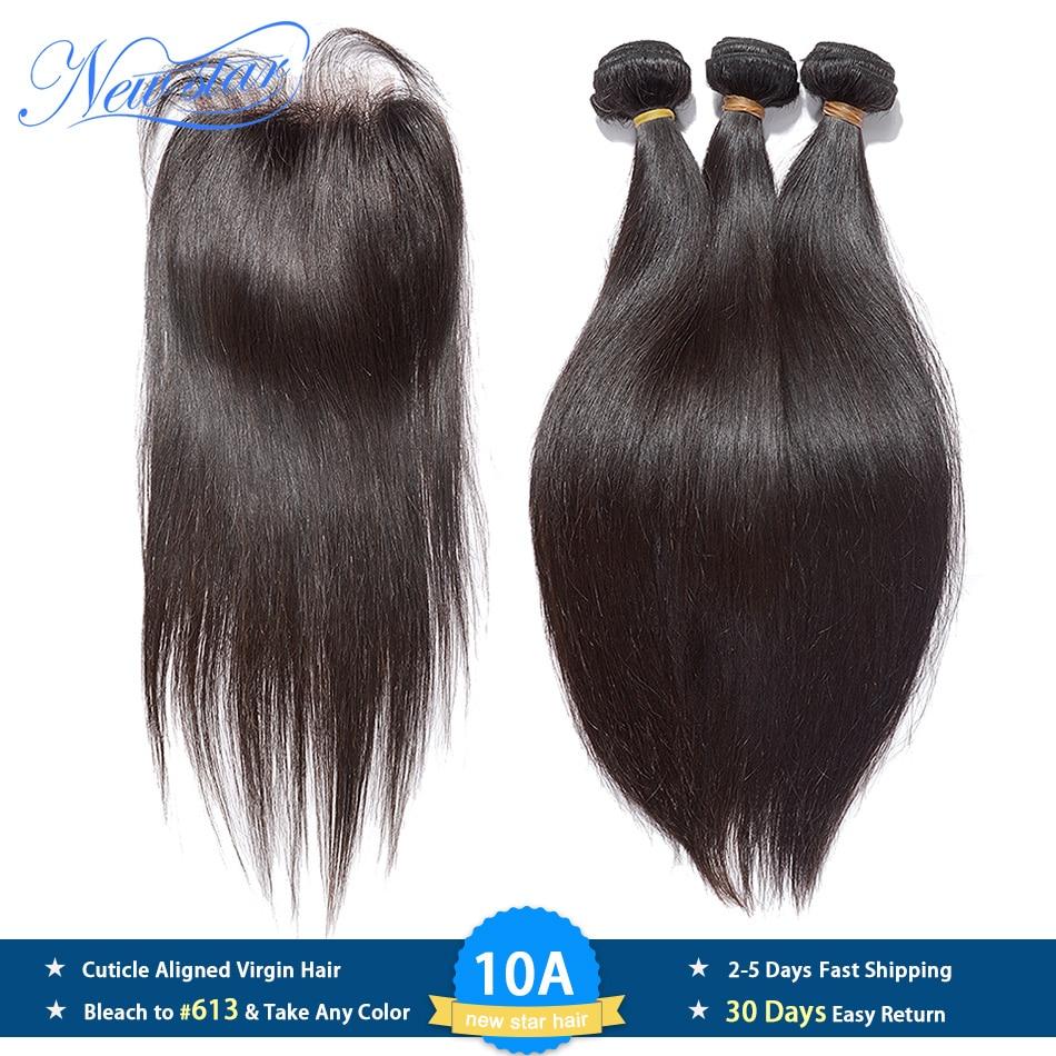 Brazilian Straight Virgin Hair 3 Bundles Human Hair Weaving With Closure 10A New Star Cuticle Aligned